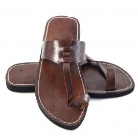 Sandales homme berbère en cuir marron