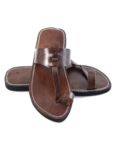 Men's Berber sandals in brown leather