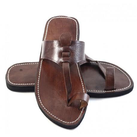 Sandales homme berbere en cuir marron