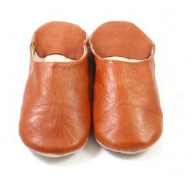 Babouche marocaine en cuir souple cuir marron clair