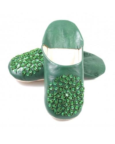 Dark green selma slippers with sequins