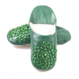 Babouche Selma paillettes vert foncé