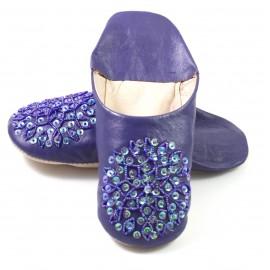 Babouche Selma paillettes violet foncé