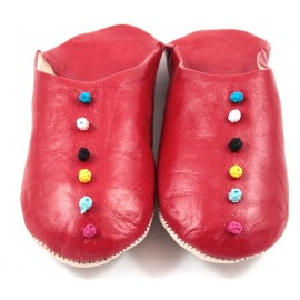 Pom-Pom Slippers made of Red Leather