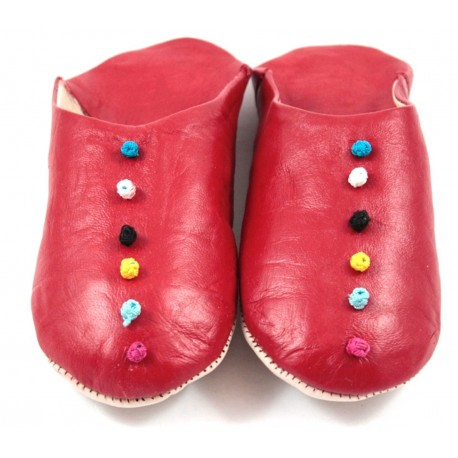 Babouches Pompons cuir rouge