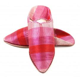 Babouche femme en sabra rose