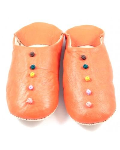 Babouche Pompons cuir orange