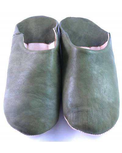 Moroccan slippers in soft kaki leather