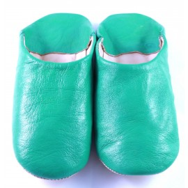 Moroccan slippers in soft green leather