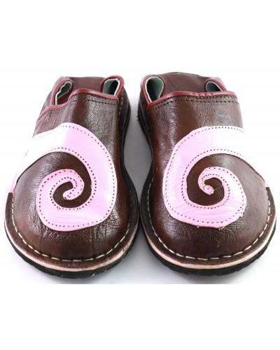 Babouche spirales en cuir rose et marron