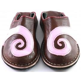 Babucha Espiral de cuero rosado marrón