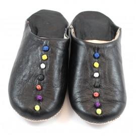 Babouche Pompons cuir noir
