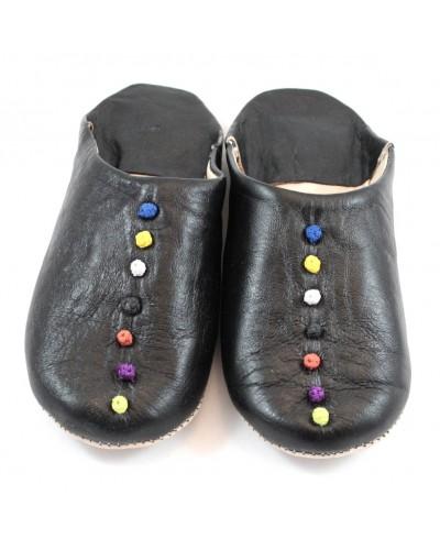 Pompons schwarz Leder slipper