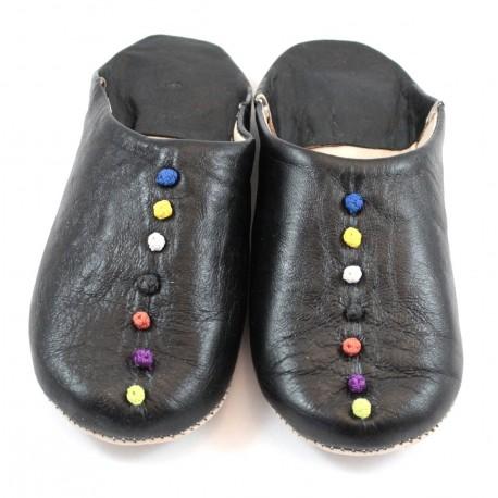 Babouches Pompons cuir noir