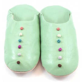 Babouches Pompons cuir menthe