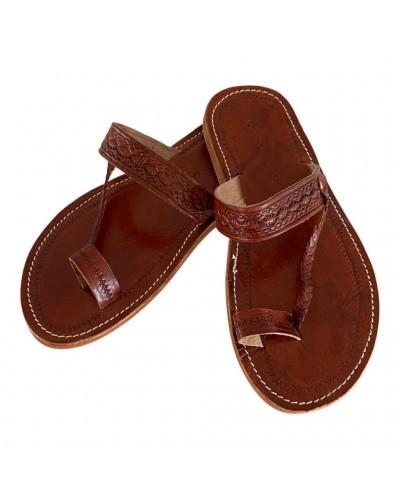 Sandales marocaines en cuir marron clair
