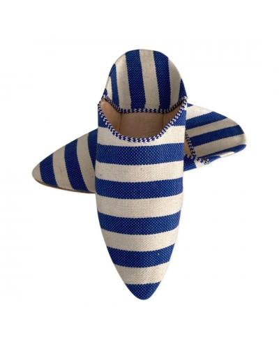Babouche pointues en tissu bleu rayé