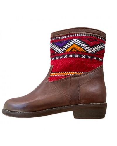 Bottines cilié tapis berbere Wydad en cuir marron