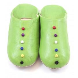Babouche Pompons cuir vert