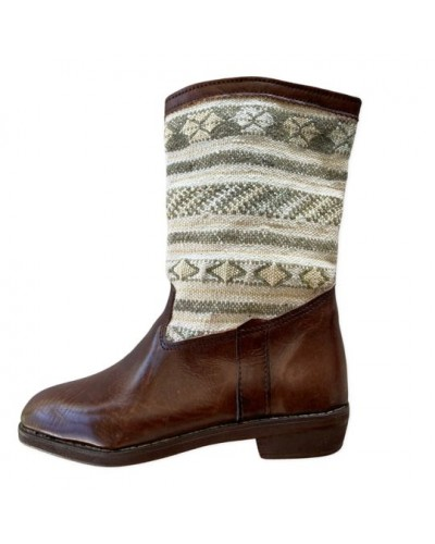 Berber leather boots with blue kilim