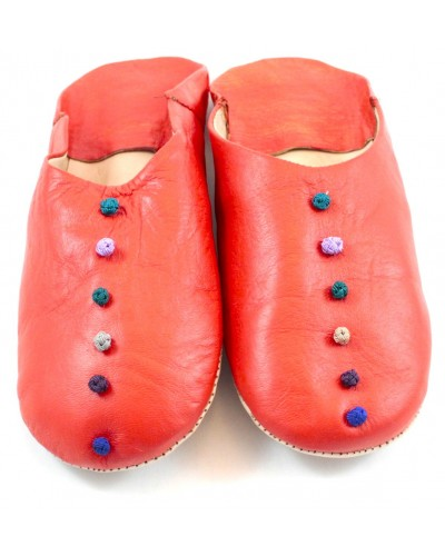 Pom-pom slippers in coral leather