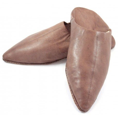 Babouches homme pointues en cuir marron
